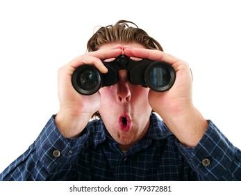 Binoculars Man Looking