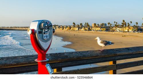 Binoculars in Newport Beach pier, California