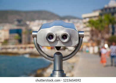 Binoculars on the promenade of Kusadasi