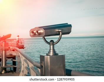 Binoculars on the sea deck