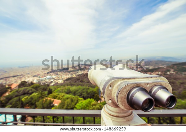 binoculars for sightseeing from the highest point of the city