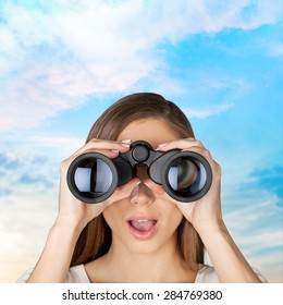 Binoculars, Women, Business.