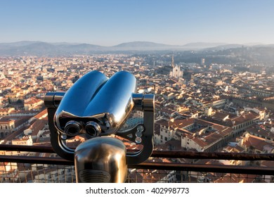 Binoculars with wonderful view of Florence, Italy