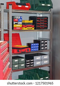 Bins Trays and Boxes For Parts and Tools Storage in Shelf