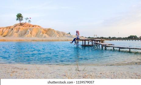 "Bintan, Kepulauan Riau, Indonesia, August 2018:""Blue Lake at Bintan Island"""