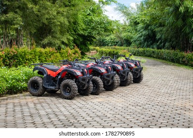 Bintan, Riau Islands, Indonesia. July 24, 2020. atv booths for motorbike rental for the area around Wisata Ekang Anculai