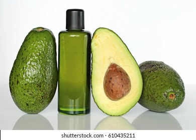 Bio avocado oil  On a light background