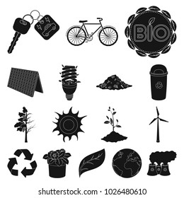 Bio and ecology black icons in set collection for design. An ecologically pure product bitmap symbol stock web illustration.