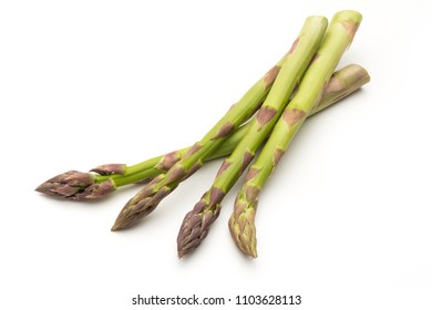 Bio fresh green asparagus isolated on white background.
