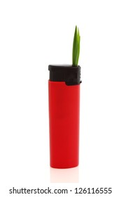 bio gas concept and red lighter