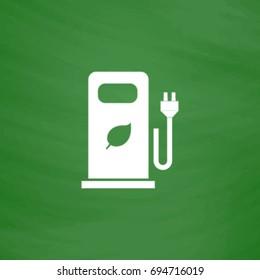Bio gas Icon Illustration. Flat symbol. Imitation draw with white chalk on green chalkboard. Pictogram and School board background