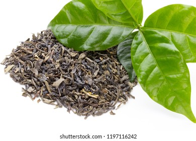 Bio green tea leaf isolated on white background