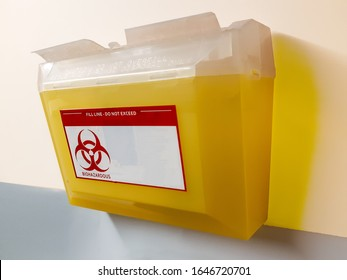 bio hazard sharps disposal box for used syringes and needles
