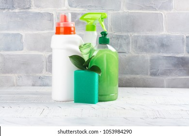 Bio organic natural cleaning supplies. Save the planet concept. White background. Copy space