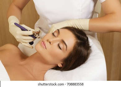 Bio oxidation therapy. Woman in the beauty salon during rejuvenation procedure.