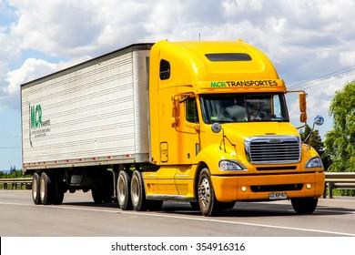 BIO-BIO, CHILE - NOVEMBER 23, 2015: Cargo truck Freightliner Columbia at the interurban freeway.