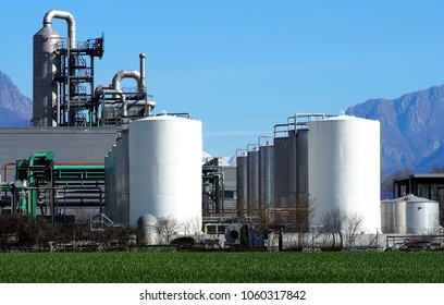 Biochemical industry plant with rows of silos in front
