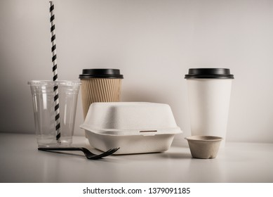 biodegradable box package to go food snack coffee container for take away eco friendly.