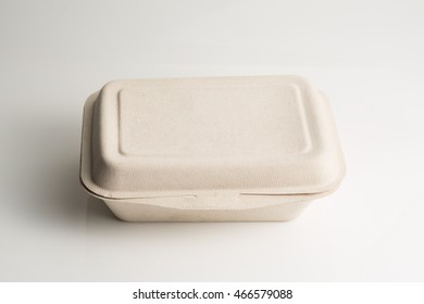 Biodegradable containers isolated on white background