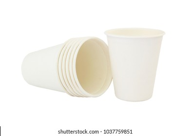 biodegradable cup on isolated white background.