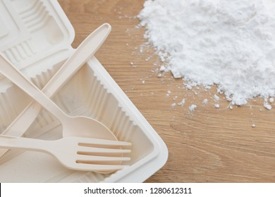 Biodegradable plastic lunch box, spoon and fork made from starch