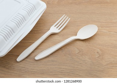 Biodegradable plastic lunch box, spoon and fork