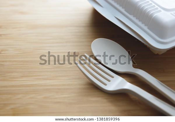 Biodegradable Plastic Lunch Box Spoon Fork Stock Photo (Edit