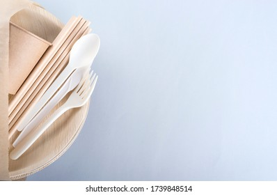 Biodegradable plate, fork, spoon, knife, cup and straws with copy space