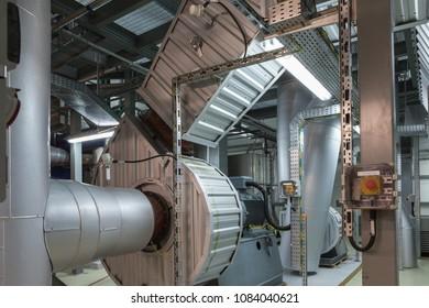 Biofuel boiler flue gas ventilator