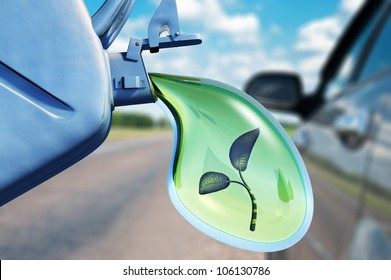 Biofuel.The canister with a drop of gasoline and a plant in it. Concept of non-polluting fuel
