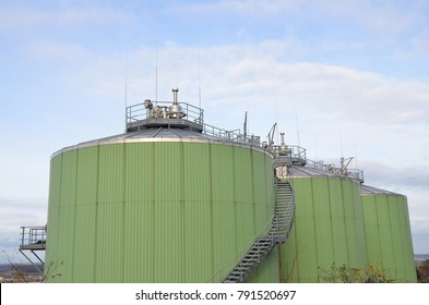 Biogas tanks in a biogas plant. Wastes recycling ecology concept. Green economics.