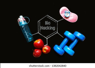 Biohacking. Fomula treatment and restoration of human health with the help of sports, healthy nutrition, sleep and vitamins, abstract background and digital technology and graphic drawing
