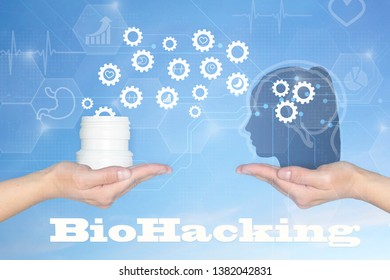 Biohacking.Treatment and restoration of human health with the help of sports, healthy nutrition, sleep and vitamins, abstract background and digital technologies and graphic patterns