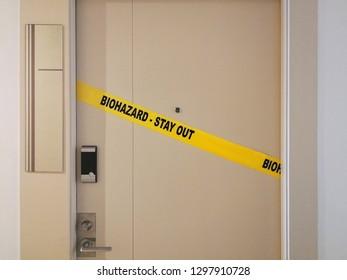 Biohazard Crime Scene Tape on Door