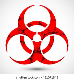 Biohazard Symbol with Grunge Texture on background. Isolated illustration of biohazard symbol. Icon can be used as a poster, wallpaper, t-shirt design, or webdesign.