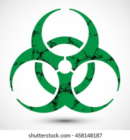 Biohazard Symbol with Grunge Texture on background. Illustration of biohazard symbol. Icon can be used as a poster, wallpaper, t-shirt design, or webdesign.
