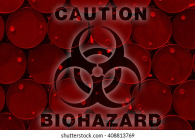 biohazard tank or oil fuel toxic chemical barrels old rusty.