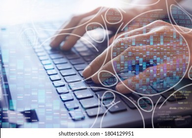 bioinformatics concept, big genomic data visualization, analysis dna software on laptop, dna test and genome map sequence