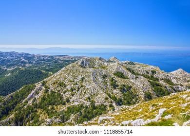 Biokovo park, Croatia, Dalmatia, mountains sea panoramic landscape