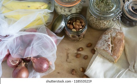 Biological food in zero waste containers, net sacks, cotton bags and glass jars