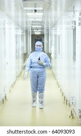 Biology research center. People in protective wear