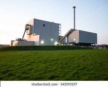 biomass power station at dusk
