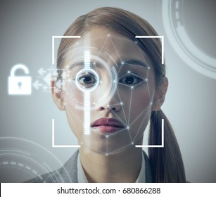biometric authentication concept. facial recognition system. iris authentication system.