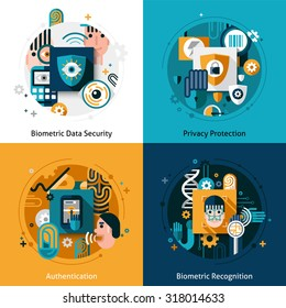 Biometric authentication design concept set with privacy protection data security and recognition flat icons isolated  illustration