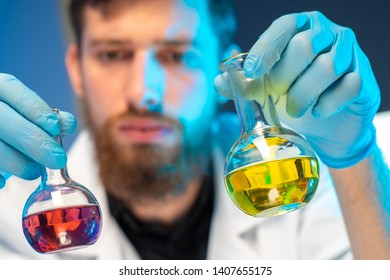 Biometric examination. The expert mixes the chemicals. Chemical examination of biomaterial. DNA analysis. Forensic medical expertise. DNA inspection. The development of chemicals.