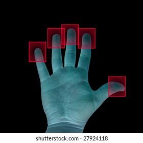 biometric fingerprint concept isolated on black