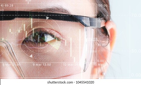 Biometric of a scientist with futuristic graphics. Business vision graphic scanned.