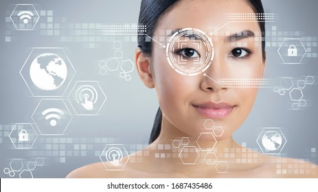Biometric security check. Eye scanning of Asian woman, collage with information on transparent screen, free space. Panorama