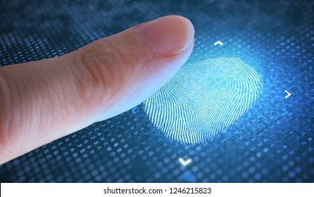Biometric and security concept. Scanning fingerprint from finger.