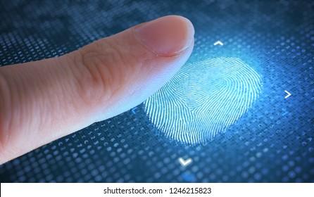 Biometrisches und Sicherheitskonzept. Abtasten des Fingerabdrucks vom Finger.